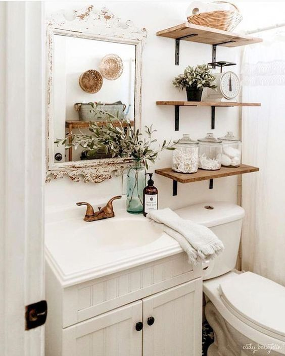Chic Boho Bathroom Design Ideas For The Home Small Bathroom Shelves Farmhouse Bathroom Decor Small Bathroom Decor