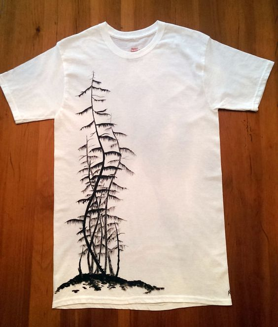 mens hand painted tshirt trees forest design black and