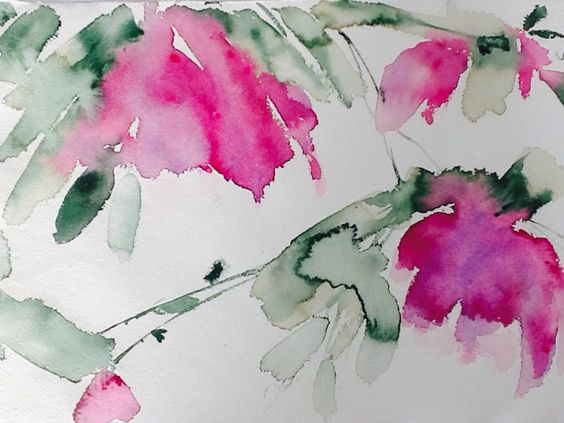 Acuarela de flores rosas