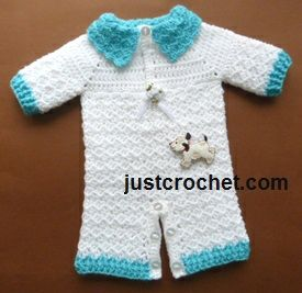 Free baby crochet pattern for preemie all in one suit http://www.justcrochet.com/all-in-one-suit-usa.html #justcrochet: