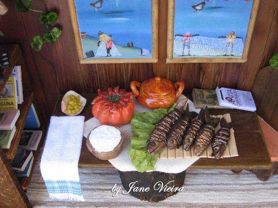 Butiá, tainha assada, pirão d'água e camarão na moranga #miniature #miniatura