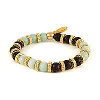 Amazonite stone and Lava Bead Elastic Bracelet with Gold Donut Rings