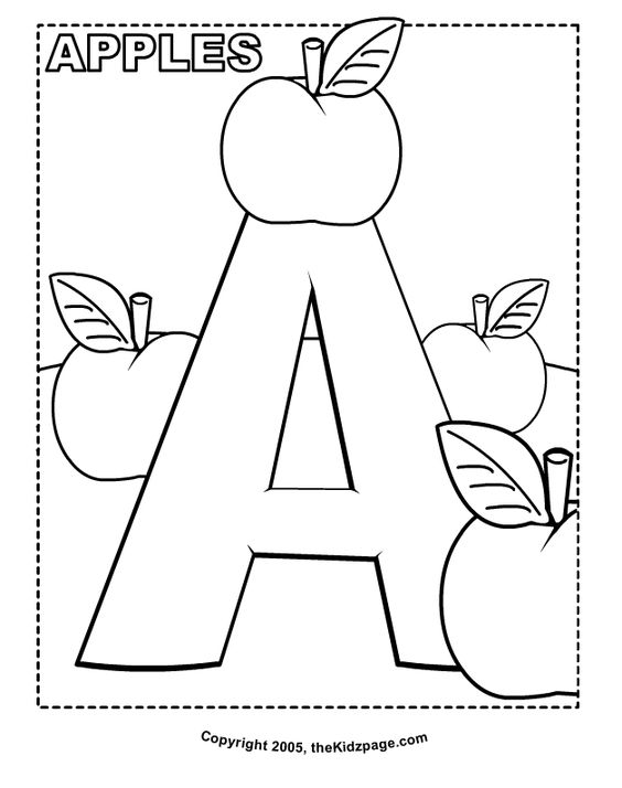 A is for Apples Free Coloring Pages for Kids Printable – Kindergarten Colouring Worksheets
