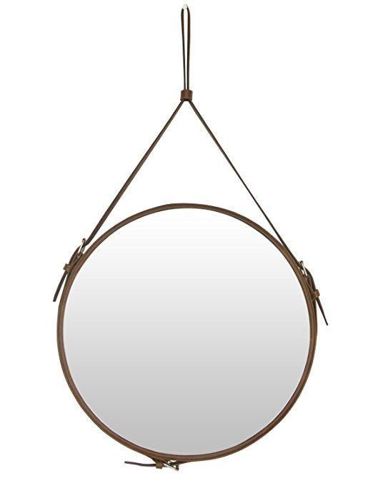 Ms Box Faux Leather Round Wall Mirror Decorative Mirror With Hanging Strap Diameter 15 8 Inch Brown Mirror Decor Round Wall Mirror Hanging Mirror