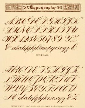 1913 Lithograph Typography Alphabet Script
