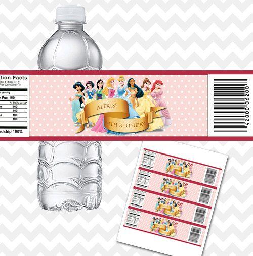 Disney Princess Bottle Labels Printable PDF by AsherPrints on Etsy