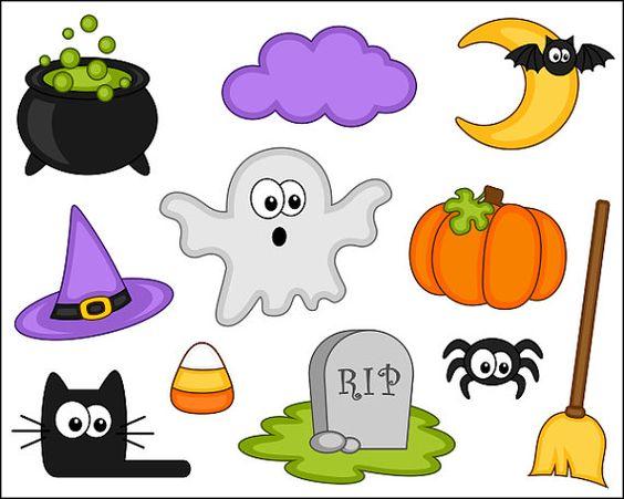 Clip Art Cute Halloween Clipart cute halloween clipart digital clip art pumpkin black cat by yarkodesign