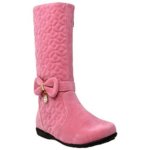 Kids Knee High Flat Boots Girls Quilted Leather Accent Zip Close Riding