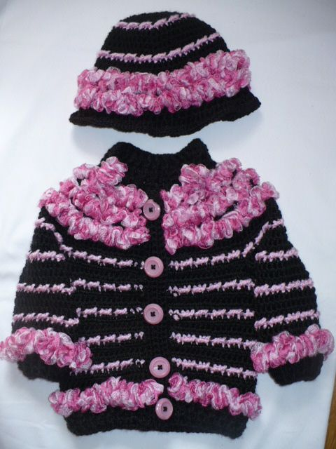 sweater coat and hat