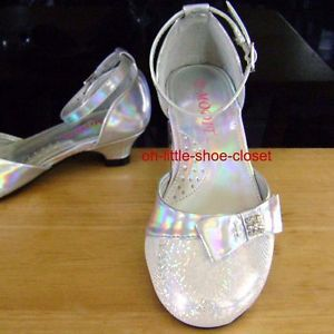 Details about Girl Silver Glitter Pageant Dress Shoes Flats Baby ...