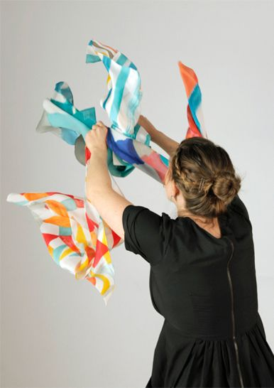 Majbrittsilk scarves are produced in a limited edition of 15 per design by Charlotte Swiden, a Swedish artist living in Melbourne.