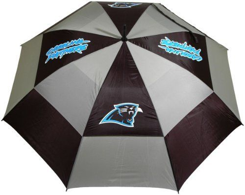 """NFL Carolina Panthers 62-Inch Double Canopy Umbrella by Team Golf. $27.99. -1. 100% nylon fabric. Auto open button. 4 location imprint and printed sheath. Double canopy wind protection design. 62"""" Umbrella. NFL Carolina Panthers 62-Inch Double Canopy Umbrella"""