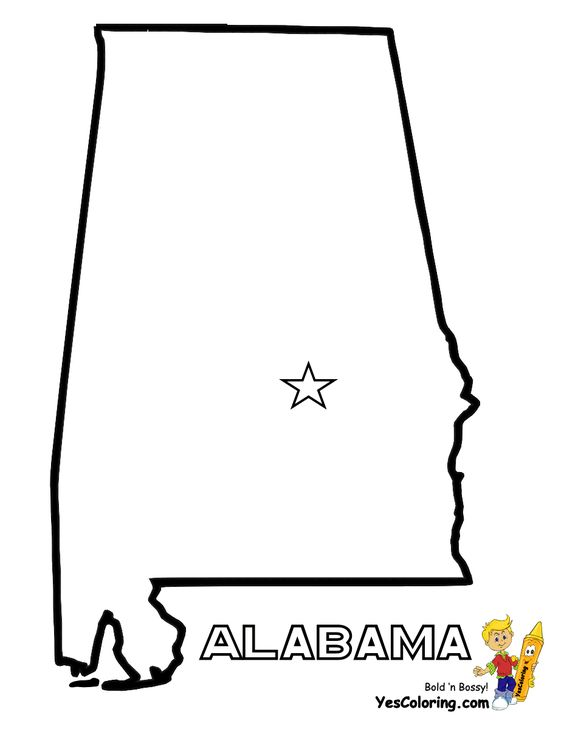 alabama  colouring pages and maps on pinterest