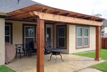 Cedar pergola in a texas backyard classic design pergola over a concrete patio yard - How to build a pergola over a concrete patio ...