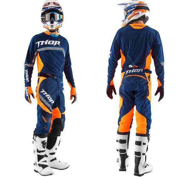 tenue motocross compl te thor mx core bend navy orange fluo 2015. Black Bedroom Furniture Sets. Home Design Ideas