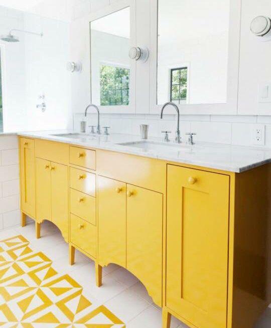 modern yellow bathroom inspo! shop www.ivoryanddeene.com.au xx