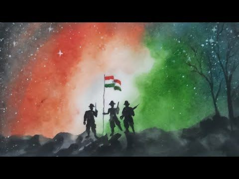 Independence Republic Day Drawing With Watercolour Step By Step Youtube Independence Day Drawing Military Drawings Freedom Art