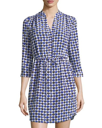 DIANE VON FURSTENBERG Freya Printed Silk Dress, Check Dot Blue. #dianevonfurstenberg #cloth #dress