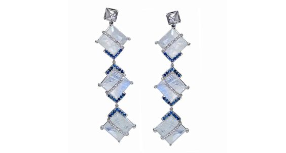 earrings from Laura Media feature moonstones accented with diamonds and blue sapphires made in 18-karat gold