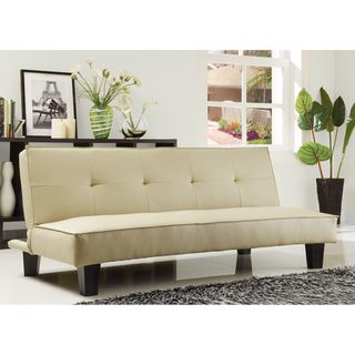 Mini Futon Sofa Bed in Modern Bento Beige Faux Leather by Ethan Home | Overstock.com