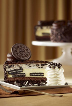 OMG!!  OREO® Dream Extreme Cheesecake    OREO® Cookies baked in our creamy Cheesecake with layers of fudge cake and OREO® Cookie mousse. Topped with a milk chocolate icing.    25¢ from the sale of each slice will be donated to Feeding America, the nation's leading domestic hunger relief charity.    #OREO #Cheesecake @The Cheesecake Factory