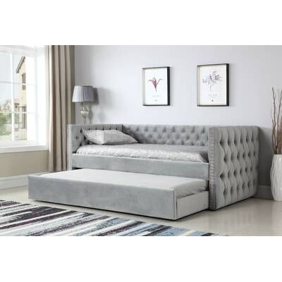 Hollandsworth Queen Day Bed With Trundle In 2020 Daybed With Trundle Twin Daybed With Trundle Upholstered Daybed