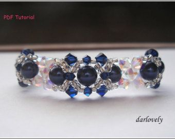 Beaded Bracelet Tutorial Pattern - Swarovski Crystal Blue Pearl Bracelet (BB037) - Beading Jewelry PDF Tutorial (Instant Download)