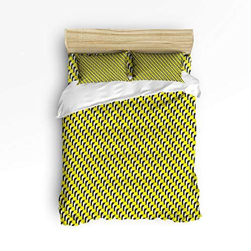 Big Buy Store Duvet Cover Set Geometric Yellow Black White Cute Penguin Decorative 4 Piece Bedding S Duvet Cover Sets Black Duvet Cover King Duvet Cover Sets