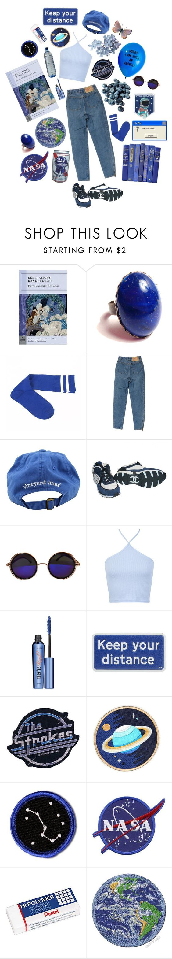"""""""blue through time"""" by sapphos ❤ liked on Polyvore featuring Theory, Vineyard Vines, Chanel, Miss Selfridge, Benefit, Anya Hindmarch, CO, Pentel and Blue"""