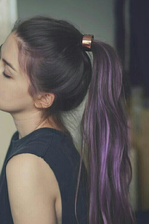 Love purple streaks. Also the ponytail holder! -CC
