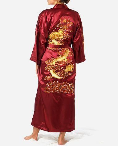 Men Embroidery Dragon Robes Traditional Male Sleepwear Nightwear Navy Blue Kimono Bath Gown with Belt