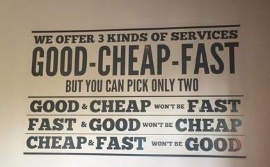 ¿Bueno, barato o rápido?