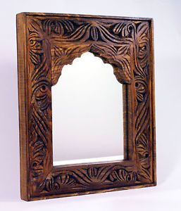 Handmade Carved Wood Swati Wall Mounted Framed Mirror - Rustic & Antique Style