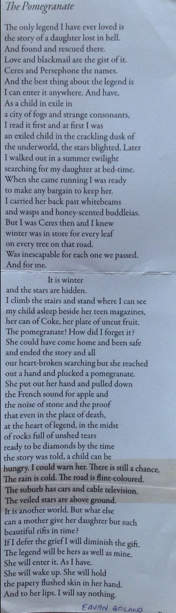 Eavan Boland poem, The Pomegranate, based on the Persephone/Demeter myth.