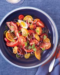 heirloom tomato salad with anchovy vinaigrette.