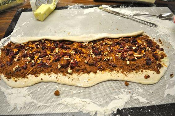 Harvest Cinnamon Rolls - Pecans, Craisins, Orange Zest, Cinnamon, Brown Sugar Filling