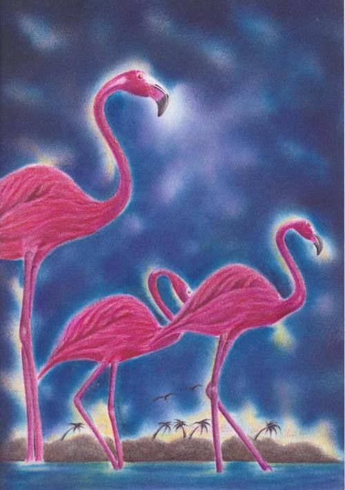 PATH Collection - Pastel Drawing of Flamingos Uvaldo Nevarez