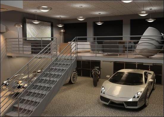 Garage Pleasing Modern Garage Design Ideas With Metal Staircase Grey Painted Connecting To Upper Floor Modern Super C Luxury Garage Garage Interior Garage Loft