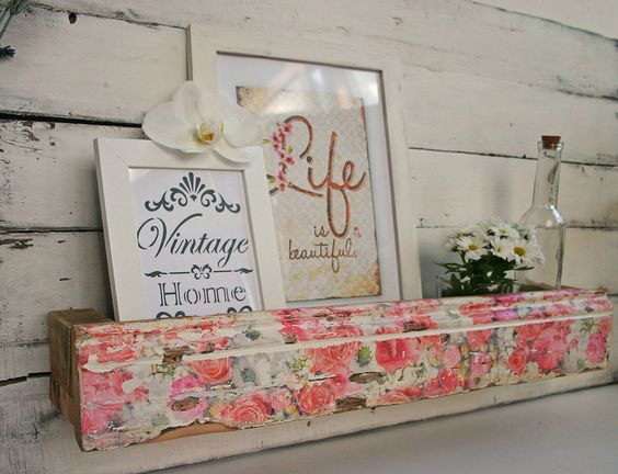 Vintage Regale - Vintage Rosen Wandregal Regal Shabby-Chic-Stil - ein…