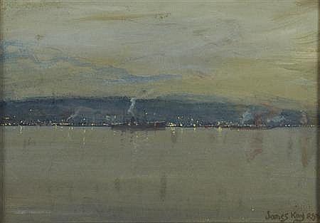 JAMES KAY R.S.A., R.S.W (SCOTTISH 1858-1942) THE TAIL OF THE BANK BY NIGHT 18.5cm x 26cm (7.5in x 10..25in)