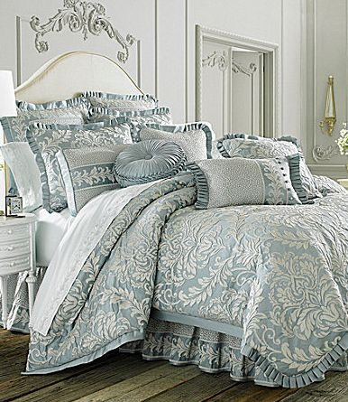 "Gorgeous blue-gray bedding, ""Vanderbilt,"" by J. Queen New York."