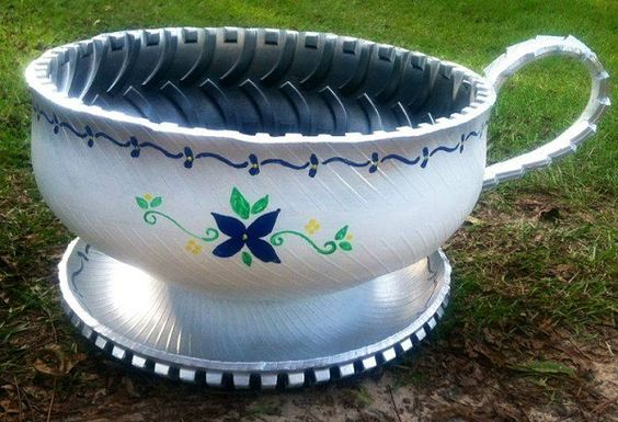 Old tires tea cups and planters on pinterest for What do you do with old tires