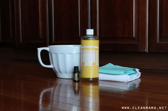 CUPBOARD AND CABINET CLEANER: 8 cups warm water 2 tablespoons liquid Castile soap 3 drops lemon essential oil.