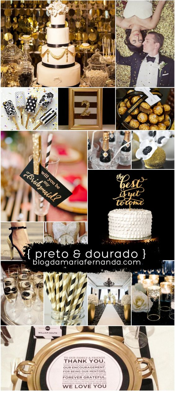 Decoração de Casamento : Paleta de Cores Preto e Dourado: