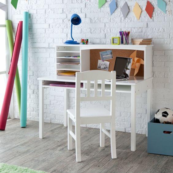 schreibtischstühle design weiß kinderzimmer ziegelwand