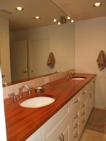 Custom solid wood edge grain jatoba bathroom counter top - Custom bathroom countertops with sink ...
