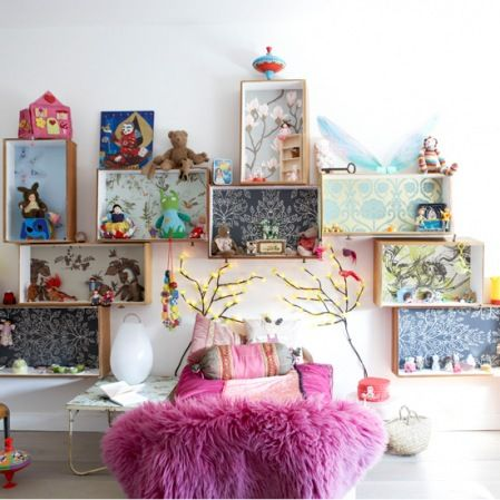Wallpaper in box shelves, fab way to add colour/pattern/kids personality to a white room.