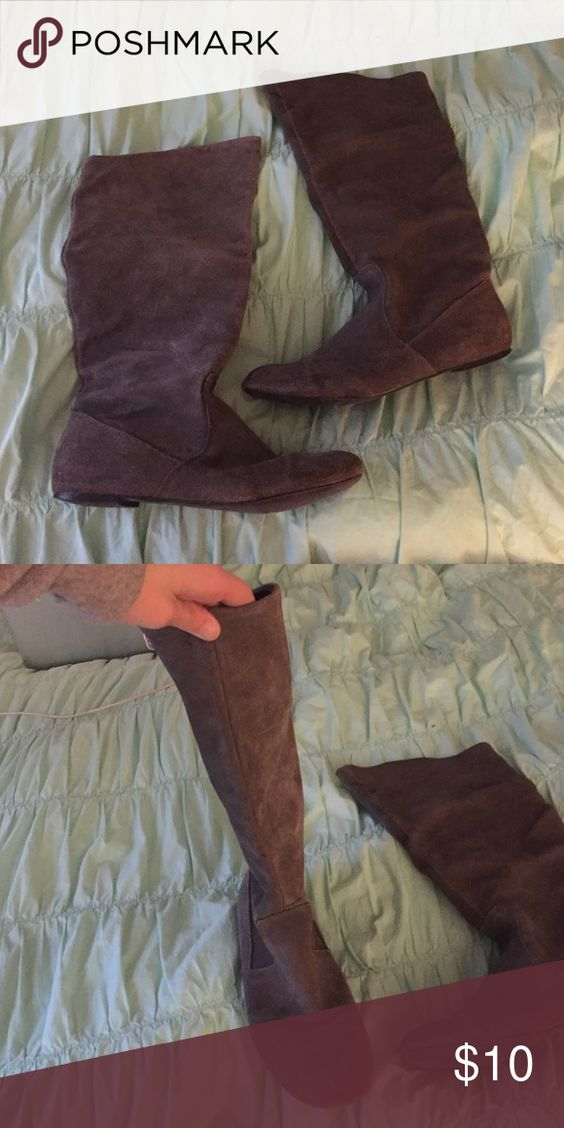 Gray suede boots Not sure of the size Shoes Ankle Boots & Booties