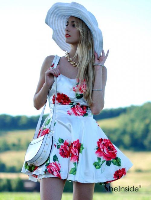 White Sleeveless Bandeau Floral Tank Dress