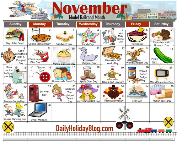 Monthly Calendar Of Events Special Days To Celebrate : November daily holiday calendar new holidays and